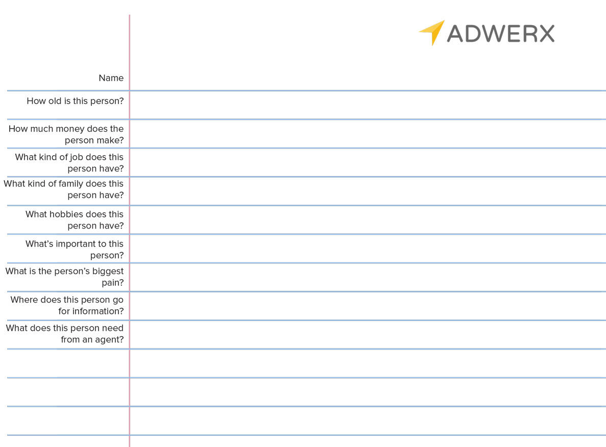 Adwerx for real estate user persona worksheet for building your real estate brand