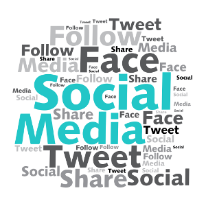 AdWerx on social media for real estate. Image includes tweet, face, follow, social media, share and social