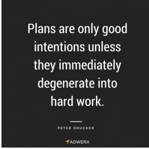 Plans are only good intentions unless the immediately degenerate into hard work - peter drucker
