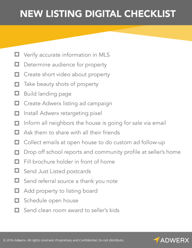 Adwerx New Listings Digital Marketing Checklist